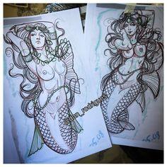 Tattoo Sketches, Tattoo Drawings, Art Sketches, Sirene Tattoo, Maritime Tattoo, Girl Face Tattoo, Blackwork, Japanese Tattoo Art, Tattoo Graphic