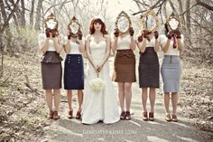 Love this idea for bridesmaids! Vintage skirts and shoes, with gloves!!!!!!