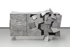 AD Collections, les pieces Vincent Dubourg pour Carpenters Workshop Gallery Commode Insideer Alu, aluminium.