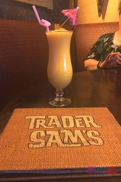 Trader Sams Grog Grotto Spikey Pineapple Barbancourt Pango Rhum blended with Pineapple Soft-serve Disney World Restaurants, Disney World Resorts, Walt Disney World, Disney Vacation Club, Disney Vacations, Disney Prices, Disney Names, Polynesian Village Resort, Dining Menu
