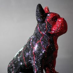 French Bruno by J. French Bulldog, Butterfly, Bling, Glamour, Sculpture, Crystals, Art, Craft Art, Bulldog Frances