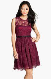 Taylor Dresses Illusion Yoke Lace Fit & Flare Dress