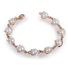 18K Rose Gold Plated Rigant Simulated Pearl Bracelet | Stylish Beth