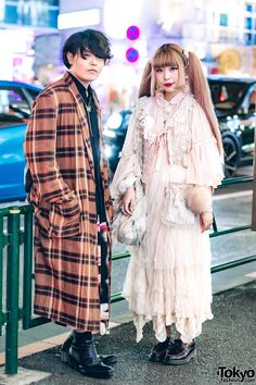 Japanese designers Shota and Yukarin on the street in Harajuku wearing vintage and antique fashion with items by Priere (Yukarin's own antique-inspired brand), Gunifuni, Qosmos, Business As Usual, LAD. Japanese Streets, Japanese Street Fashion, Tokyo Fashion, Harajuku Fashion, Harajuku Japan, Harajuku Style, Party Fashion, Cute Fashion, Unique Fashion