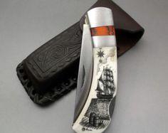 Scrimshaw Knife Pocket Knife Silver Select Channel by lindalayden