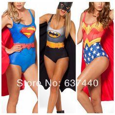 2014 New Cosplay 3D Print swimwear one piece ladies galaxy bathing suit batman Superman Wonder Woman sexy swimsuit Vintage US $12.99