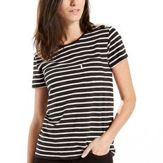 Women's Levi's Perfect Striped Pocket Tee, Size: Large, Blue