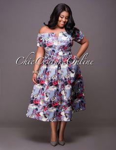 Milagros Grey Multi-Color FloralPrint CURVACEOUS Dresss