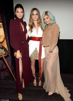 Support: Cara Delevingne was joined by her pals Kendall and Kylie Jenner for the screening...