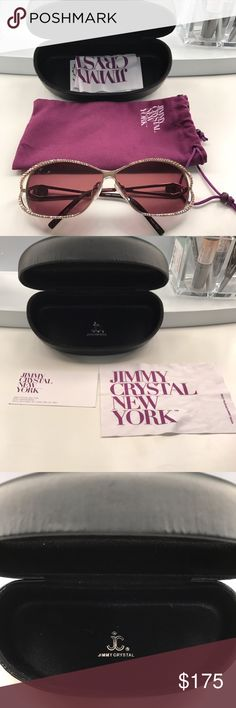 NWOT Jimmy Crystal Sunglasses These gorgeous, brand new, Jimmy Crystal sunglasses are adorned with genuine Swarovski Crystals. Comes with the hard case, dust bag and cleaning cloth. Purchased in Manhattan for $230. A great gift for the upcoming holidays!! Don't miss out on this one ladies!!! 🕶🕶💎💎 Jimmy Crystal Accessories Sunglasses