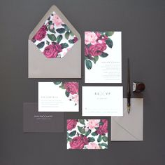 Harlow Wedding Invitation & Correspondence Set / Painterly Florals and…