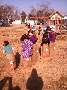 Love the bunny sack race