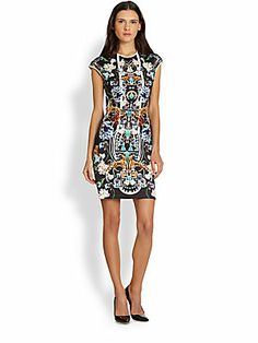 Clover Canyon Gold Panther Capsleeve Sheath Dress
