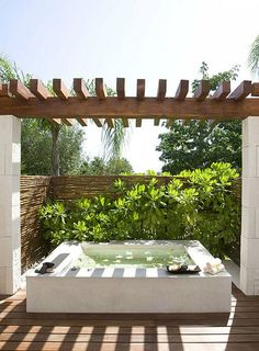 Creating an outdoor oasis that fills you with energy and health is essential today, in our stressful world. You need just an outdoor hot tub, jacuzzi . Outdoor Baths, Outdoor Bathrooms, Outdoor Rooms, Outdoor Living, Outdoor Showers, Jacuzzi Outdoor Hot Tubs, Outdoor Tub, Hot Tub Deck, Outdoor Retreat