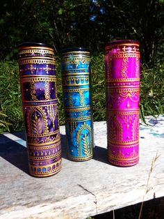 Bohemian Henna Mehndi Candles set of 3 Fuschia Teal by Behennaed