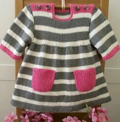 Knitting Pattern Baby Dress Happy Day Baby Dress baby girl Strickanleitung Baby Kleid Happy Day Baby Kleid Baby This. Baby Sweater Patterns, Baby Knitting Patterns, Baby Patterns, Blouse Patterns, Clothes Patterns, Sewing Patterns, Pull Bebe, Baby Cocoon, Sport Weight Yarn