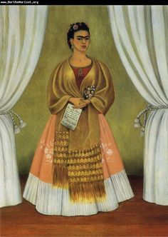 "Self Portrait Dedicated to Leon Trotsky - ""Between the Curtains"" by Frida Kahlo"