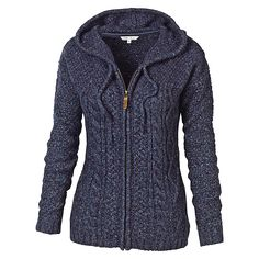Buy Fat Face Amelia Cable Zip Thru Hoodie, Navy, 6 Online at johnlewis.com