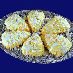Glazed Lemon Cream Scones with Crystallized Ginger