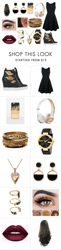 """-"" by mangle322 on Polyvore featuring Giuseppe Zanotti, Emporio Armani, Missguided, Amrita Singh, Gucci, Warehouse and Noir Jewelry"