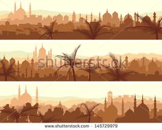 Horizontal abstract banners of arab city with palm trees at sunset.