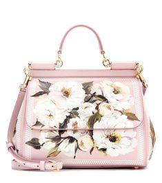 Dolce & Gabbana - Ledertasche Miss Sicily mit Print rosa mit Blumendruck