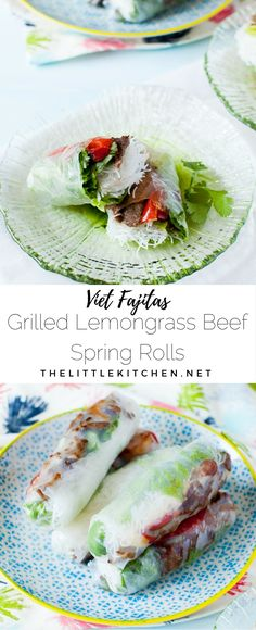 Vietnamese Spring Rolls with Grilled Lemongrass Beef - The Little Kitchen Minced Beef Recipes Easy, Veal Recipes, Asian Recipes, Healthy Recipes, Vietnamese Recipes, Gourmet Recipes, Beef And Rice, Beef And Noodles, Rice Noodles