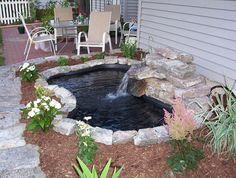 34 Cheap And Lovely Garden Pond Waterfall Design Ideas # Small Backyard Ponds, Outdoor Ponds, Backyard Ideas, Outdoor Fountains, Small Ponds, Modern Backyard, Back Yard Pond Ideas, Desert Backyard, Sloped Backyard