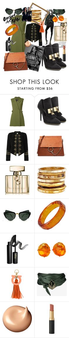 """attitude"" by diamondsky99 ❤ liked on Polyvore featuring Balmain, Yves Saint Laurent, Chloé, Gucci, Ashley Pittman, Spitfire, INIKA, Chanel, Salvatore Ferragamo and Clé de Peau Beauté"