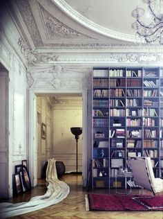 Opulent period details meets modern home library. From Just the Design Tumblr.