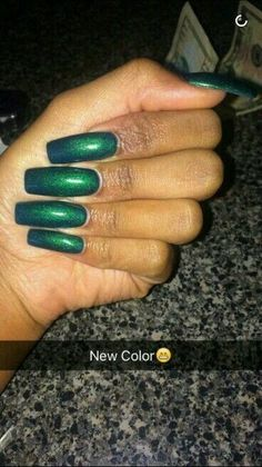 49 Trendy Ideas For Nails Acrylic Square Long Green Gorgeous Nails, Love Nails, How To Do Nails, Crazy Nails, Nail Candy, Nail Shop, Green Nails, Square Nails, Nails On Fleek