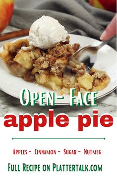 Learn how to make open-face apple pie with this easy homemade dessert recipe from Platter Talk! Open Face Pie Recipe, Apple Pie Recipe Easy, Easy Pie Recipes, Apple Pie Recipes, Dessert Recipes, Easy Homemade Desserts, Dutch Apple, Cinnamon Apples, Something Sweet