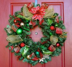 Gold, red and green Christmas wreath