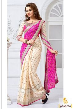 Get the new glamour in this beautiful pink and cream silk saree online shopping with discount offer price. Buy online this georgette and cotton saree at very reasonable price. #partywearsaree, #partysaree, #designerpartysaree, #embroiderysaree, #designersaree, #georgettepartysaree, #discountoffer,   #pavitraafashion, #utsavfashion, #onlinesareeshopping, #printedpartysaree, #silkpartysaree, #indiansaree http://www.pavitraa.in/store/embroidery-saree/ callus:+91-7698234040