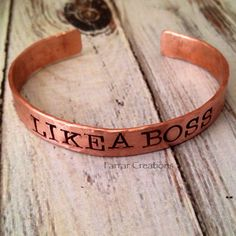 Like A Boss Hand Stamped Copper Cuff Bracelet by FarrarCreations, $26.00