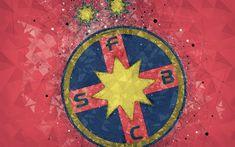 FC Steaua Bucharest, FCSB, 4k, new logo, geometric art, red background, Romanian football club, new emblem, Liga 1, Bucharest, Romania, football, art Bucharest Romania, Football Art, Sports Wallpapers, Geometric Logo, Desktop Pictures, Red Background, Club, Profile, Coat Of Arms