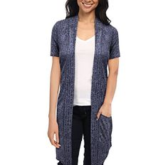 Womens Casual Short Sleeve Open Front Drape Cardigan KSKW31128 10474 NAVY Large -- See this great product.