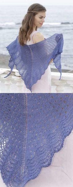 High Tide Lace and Wave Free Shawl Knitting Pattern