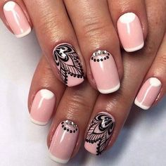 Black pattern nails, French manicure ideas 2017, Half moonnails with…