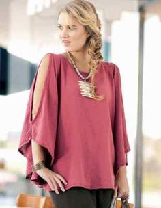 OH MY GAUZE Cotton Lagenlook FAN Cape Poncho Top  OSFM  M/L/XL/1X/2X  OLD ROSE