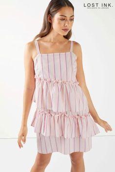 L2018 Warstwowa sukienka na ramiączkach Lost Ink w paski