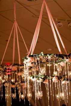 country rustic diy flower chandelier with lights decoration ideas