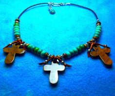 3 JASPER CROSSES 45 mm+Real TURQUOISE Heishi Beads 10 mm+Leather Cord Necklace+Sterling Clasp+Bone+Silver Beads+By Native American+Free Ship by TjeansJewelry on Etsy