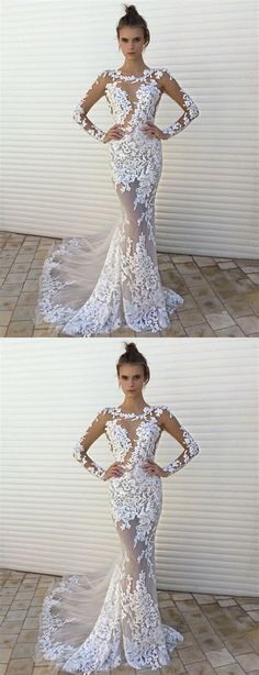 Unique Prom Dresses, Long Sleeve Lace Mermaid Prom Dresses,Sexy See through Prom Dresses, Cheap Long Prom Dresses, There are long prom gowns and knee-length 2020 prom dresses in this collection that create an elegant and glamorous look Ivory Prom Dresses, Mermaid Prom Dresses Lace, Prom Dresses Long With Sleeves, Prom Dresses 2018, Long Prom Gowns, Wedding Dress Sleeves, Ball Dresses, Lace Mermaid, Bridesmaid Dresses