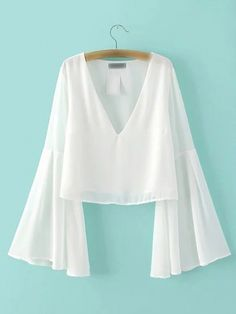 White Bell Sleeve V Neck Chiffon Blouse -SheIn(abaday)