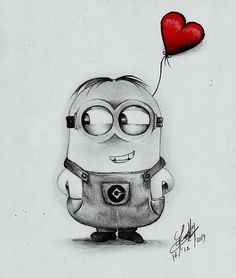Minion Bob Drawing in pencil - Painting Disney Drawings Sketches, Cute Cartoon Drawings, Girl Drawing Sketches, Girly Drawings, Art Drawings Sketches Simple, Pencil Art Drawings, Drawings About Love, Cartoon Pencil Sketches, Drawing Ideas