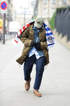 Featured on Tommy Ton's GQ's Paris Street Style: Union Los Angeles' Chris Gibbs rocking the Feal Mor Football Scarf!