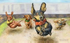 The expression on the little dog's face is supremely clear. Ginger the dachshund has clamped her teeth on a tennis ball, and her big brown eyes are fixed on you. Vintage Dachshund, Dachshund Art, Dachshund Puppies, Pet Dogs, Daschund, Doggies, Weenie Dogs, Dog Fence, Cartoon Dog