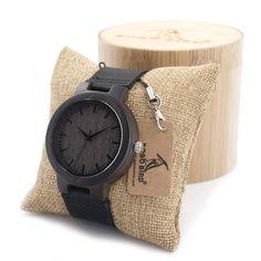 Dark Wood & Leather Watch