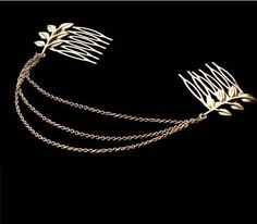 Fashion Golden Fringe Tassel Metal Chain Layer Leaf Leaves Hair 2 Tuck Comb Wrap Cuff Clip Pin Hairband HeadPiece Wedding statement Hair Ornament Decoration Women's Accessories
